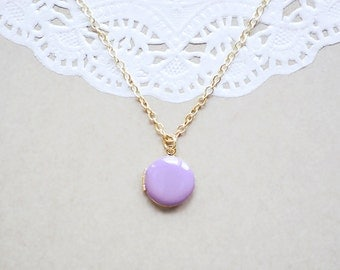 Little Enamel Locket Necklace - Lilac Color