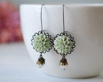 Dusky Green Sage Green Dahlia Mum Flower Swarovski Ivory Cream Pearl Earrings, Vintage Style Long Dangle Earrings, Wedding Bridal Earrings