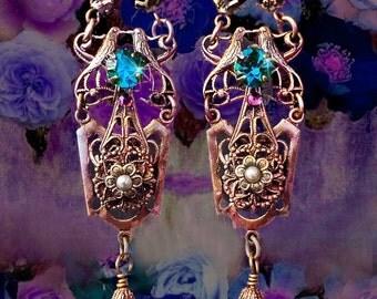Dark Amethyst Raven Earrings, Purple & Teal, Gothic Victorian, Renaissance Jewelry, Filigree Earrings, Lightweight, Clip-On Option