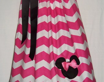 Minnie Mouse Pillowcase Dress / Pink Chevron / Disney / Birthday / Newborn / Infant / Toddler / Baby / Girl / Custom Boutique Clothing