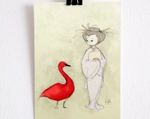 Red Swan Girl Geisha Maiko Postcard Small 4x6 Art Print