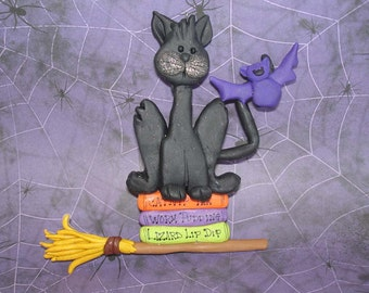 Black Kitty Cat Ornament Spell Cook Book Witches Broom Bat Polymer Clay Milestone Halloween Cake Topper Lizard Worm Recipes Potions  Costume