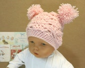 Crochet Hat with Pom Poms, Baby Girl Pale Pink Beanie, 0 Months to Adults, Photo Prop, Baby Shower Gift