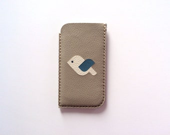 Phone Pouch Phone Case Phone Sleeve Phone Wallet / for iphone 6 iphone 5 5S iphone 5C iphone 4 4S samsung galaxy s3 s4 s5, Beige and Bird