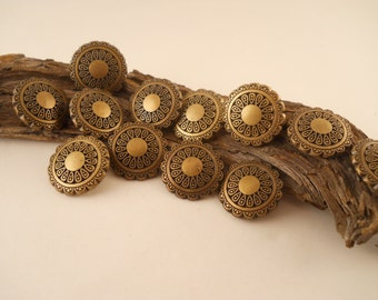 BUTTONS: Brass look ornate buttons, 7/8 inch, wonderful on costumes.  Set of 12 buttons.
