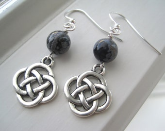 Snowflake Obsidian Jewelry - Snowflake Obsidian Earrings - Irish Earrings - Celtic Knot Jewelry - Celtic Knot Earrings - Stone Earrings
