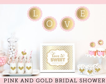 Pink And Gold Bridal Shower Decorations Bachelorette Party Decor Glitter
