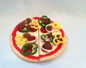 43 Piece Deluxe Felt Pizza Kit, Personal Size Pizza, Personalized, Felt Food, Play Food
