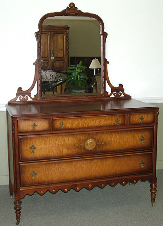 C1046 Antique Dresser W Mirror Chest By Vintagewayfurniture