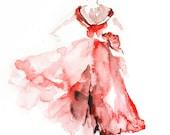 Ballerina in Pink, Watercolor Painting Art Print, Ballet Dance Art, Watercolour Art
