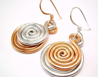 Mixed Metal Earrings Silver and Copper Earrings Spiral Earrings Mismatched Earrings Copper and Silver Earrings Copper and Silver Jewelry