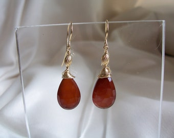 Carnelian 14mm briolette earrings 14k gold filled gemstone handmade MLMR item 714