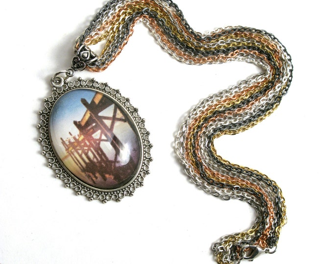 Dock of the Bay Seaside Photograph in a Large Domed Glass Cabochon with in an Antique Silver Filigree Pendant on a Multi-Chain Necklace 18""