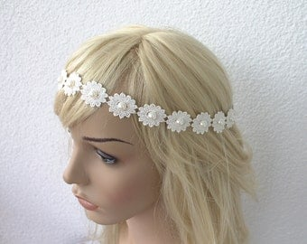 bridal tiara, ivory headband, wedding head piece, pearl and rhinestone halo, brides accessories, gift for her