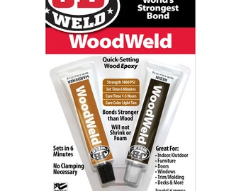 J-B WELD WoodWeld 2 part EPOXY Adhesive Quick Setting sandable furniture and Wood color Brown Glue Weld JB 8251