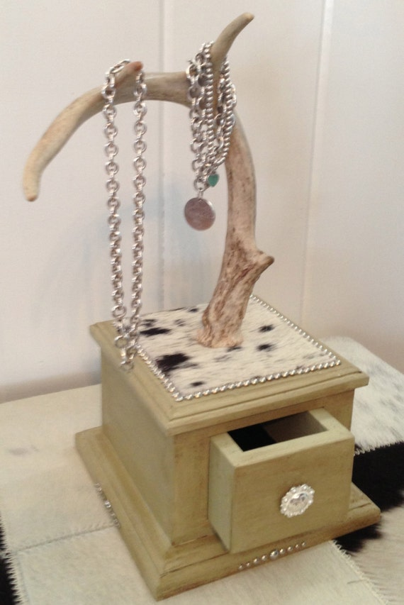 items similar to deer antler jewelry holder cowhide