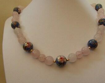 "10k Gold  Rose Quartz, Cloissone & 10k Gold Bead Necklace 18"". 49.92g"
