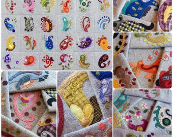 Perfectly Paisley Wool Applique Wall Hanging - Pattern Book - 30 Unique Designs For Wool Applique, Hand Embroidery