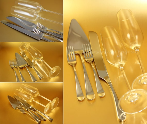 Engraved Wedding Sets Cake Server Knife Forks By