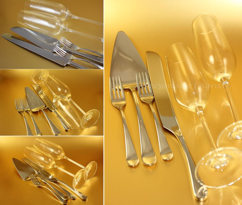 engraved wedding sets cake server knife forks by personallyengrave. Black Bedroom Furniture Sets. Home Design Ideas