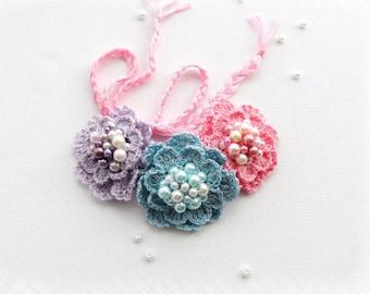 Crochet Necklace - Choker - Crochet Bracelet - Hairband - Crochet Beaded Pastel Roses