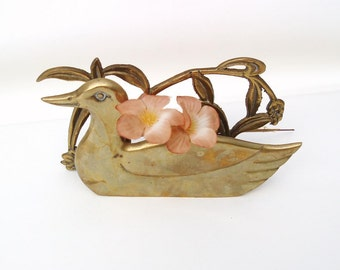 Vintage Brass Duck | Napkin Holder | Metal Duck | Mail Sorter \ Note Holder | Bar Accessory | Desk Organizer