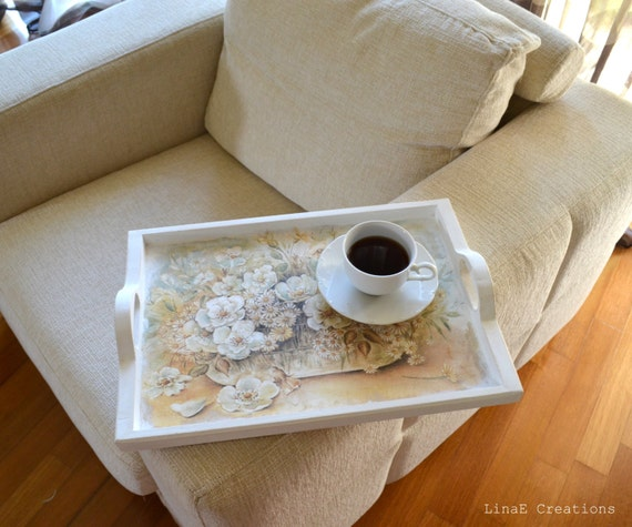 Home Decor Hostess Gifts: Items Similar To Serving Tray With Flower Bouquet, Hostess