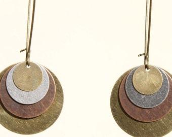 Boho Earrings Bohemian Jewelry Mixed Metal Earrings Copper Brass Silver Earrings Dangle Earrings Bohemian Jewelry Long Earrings