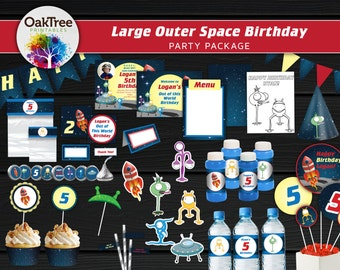 Large Outer Space Birthday Party Package Set - Printable - DIY - Invitation Included - 25 Items