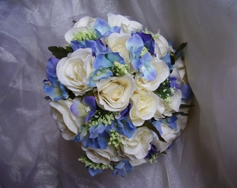 Beautiful Vintage Wedding Bouquet. Artificial Ivory Roses, Blue Hydrangea and Ivory Trachelium with Organza Collar and Satin Ribbon