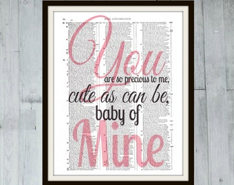 You Are So Precious To Me, Cute As Can Be, Baby Of Mine - Disney Quote Concordance Book Page Art Print - Pink