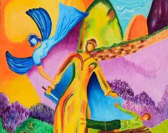 Original Oil Painting On Canvas - 'Isaacs sacrifice' - Biblical Painting Colorful Wall Art - 70x90 cm