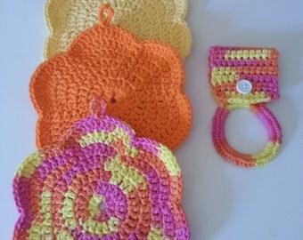 Dish Cloths and Towel Holder, Orange Dish Cloth, Yellow Dish Cloth, Pink Dish Cloth, Towel Holder, Crochet Dish Cloths, Handmade Dish Cloth