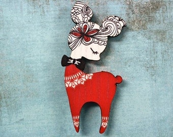 Woodland Creature Black Red and White Deer Wooden Brooch