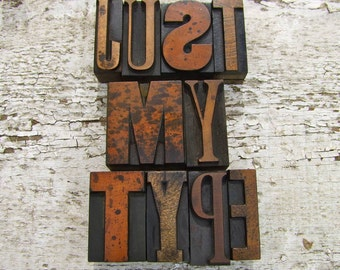 Vintage Letterpress Printers Blocks  Small (up to 1.5 inches)