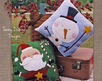 Wool Felt Snowman Pattern, Christmas Applique Design, Decorative Pillow Pattern, Santa & snowman sewing pattern, wool applique holiday decor