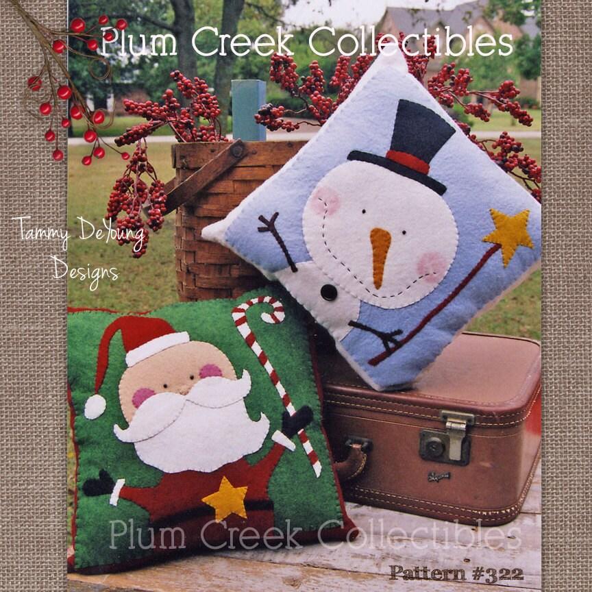Wool Felt Snowman Pattern Christmas Applique Design Decorative Pillow Pattern Santa \u0026 snowman sewing pattern wool applique holiday decor & Wool Felt Snowman Pattern Christmas Applique Design Decorative ... pillowsntoast.com