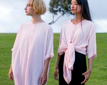 Oversized shirt dress / Light pink color/  Buttoned dress / Pink tunic dress / 'Mary joy' dress
