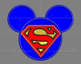 Cute mouse Superhero Head Applique Design  3 sizes 4X4, 5X7 and 6X10 Instant Download