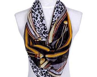 Womens Scarf, Brown Scarf, Leopard Print Scarf, Floral Print Scarf, Chiffon Scarf, Voile Scarf, Cotton Scarf, Fashion Scarf