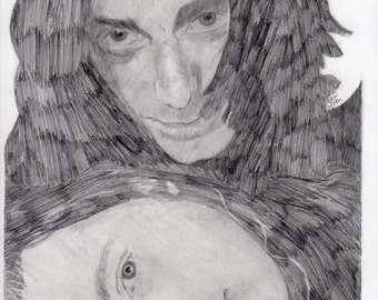 print of musicians chris & rich robinson of the black crowes from original drawing