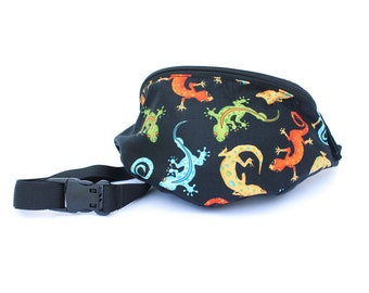 Fanny pack Colorful Gecko Lizard Toss fabric  - Hip Bag  - 2 Zippers