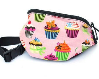 Fanny pack Pink Cupcake fabric - Cute  - Hip Waist Bag