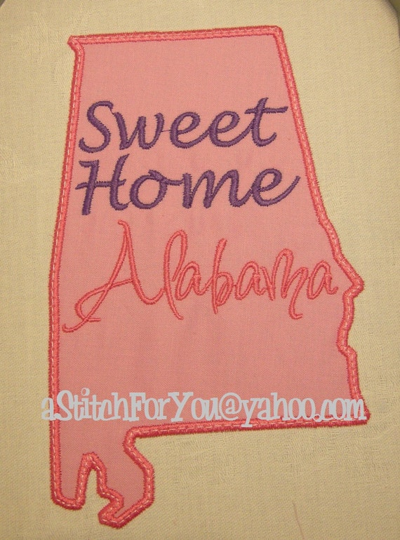 ALABAMA State Applique, Sweet Home Alabama - INSTANT Download Machine Embroidery Design by Carrie