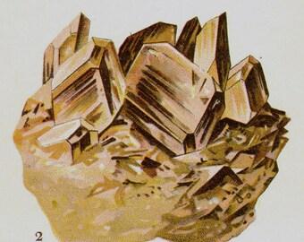 Epidote Axinite Prehnite Crystal Stone Mineral Vintage Lithograph Edwardian Geology Print To Frame 32