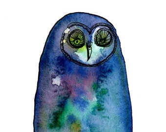 Owl art print  - No. 18 - Reproduction Print of Watercolor and ink illustration drawing Archival Owl in Blue Colors 5x7 matte image