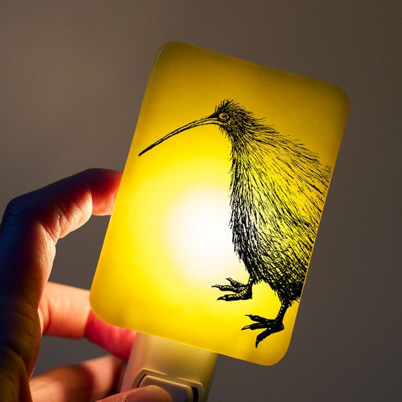 Kiwi Nightlight on Bright Neon Yellow Fused Glass Night Light - Gift for Baby Shower or Nature Lover - New Zealand