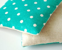 Organic Lavender Sachets in Natural Linen and Turquoise Polka Dot Japanese Fabric Set of 2 Lavender Scented Pillow