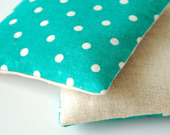 Organic Lavender Sachets in Natural Linen and Turquoise Polka Dot Japanese Fabric Organic Lavender Set of 2