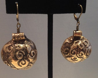 Antique Bronze Dome Handcrafted Abstract Organic Swirls Designs Lever Back Earrings Lightweight 0.4 Ounces PMC Metal